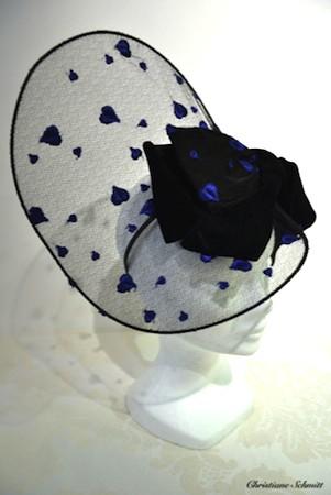 coiffe voilette coeur bleu