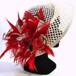 chapeau ajouré et plumes